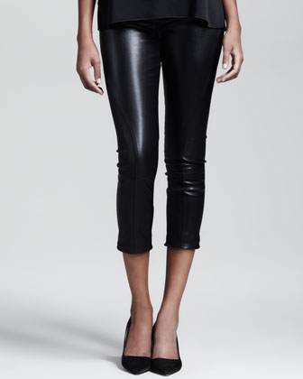Cropped Stretch-Leather Leggings