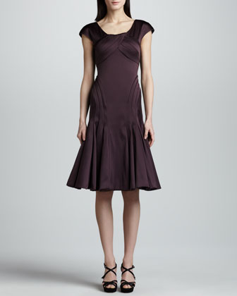 Cap-Sleeve Satin Dress, Deep Purple