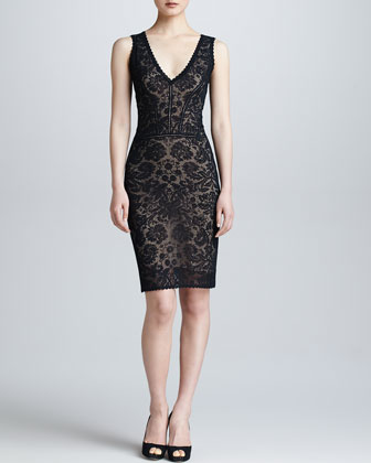 Sleeveless Lace V-Neck Dress