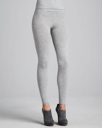 Stretch Cashmere Melange Leggings, Cement