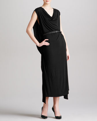 Belted Cowl Cape Dress, Black
