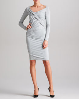 Donna Karan Draped Long-Sleeve Jersey Dress, Cement