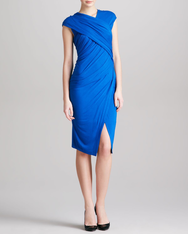 Womens Cap Sleeve Draped Jersey Envelope Dress, Blue   Donna Karan   Electric