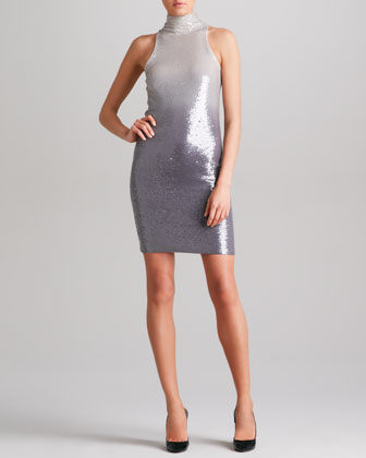 Ombre Sequined Cashmere Dress