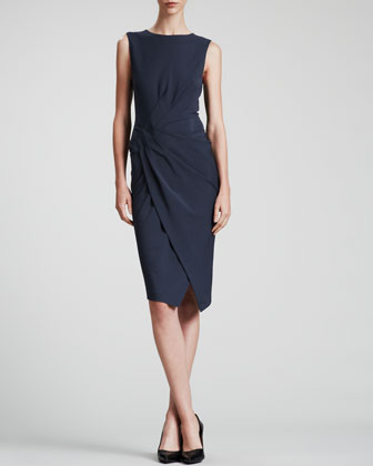 Sleeveless Fixed-Sarong Dress, Slate Blue
