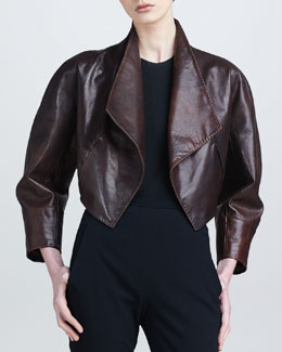 Donna Karan Draped Leather Bolero Jacket, Henna