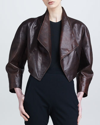Draped Leather Bolero Jacket, Henna
