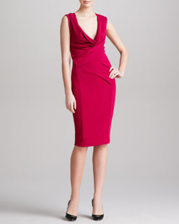 Donna Karan Plunging Cowl-Neck Dress, Cyclamen