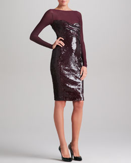 Donna Karan Sheer-Yoke Long Sleeve Sequin Dress, Claret