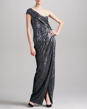 Sequined One-Shoulder Gown, Charcoal