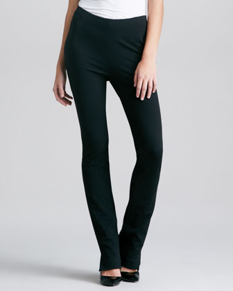 Matte Crepe Asymmetric Top & Structured Slim Jersey Body Pants