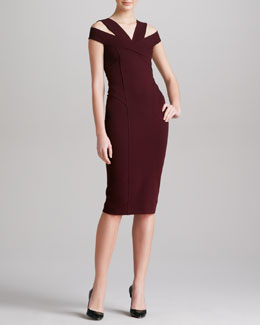 Donna Karan Off-the-Shoulder Dress, Claret