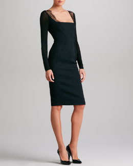Donna Karan Lace-Trimmed Body Conscious Dress, Black
