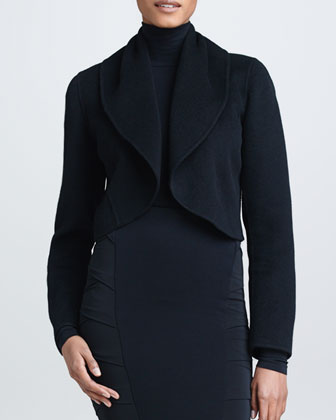 Shawl Collar Cashmere Cropped Jacket, Black