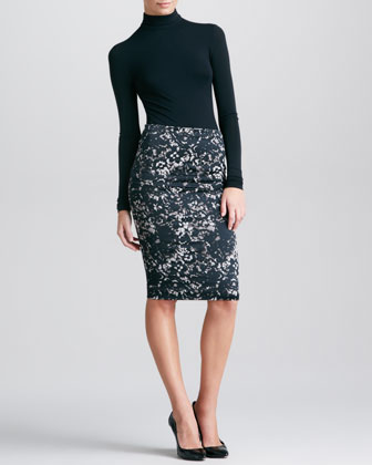 Lace-Print Tube Skirt, Black