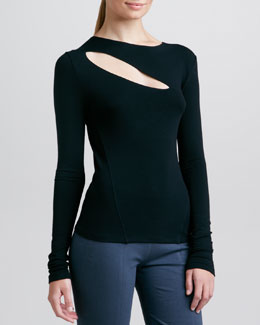 Donna Karan Long-Sleeve Slash Top, Black