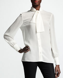 Saint Laurent Button-Up Ascot-Neck Blouse, White