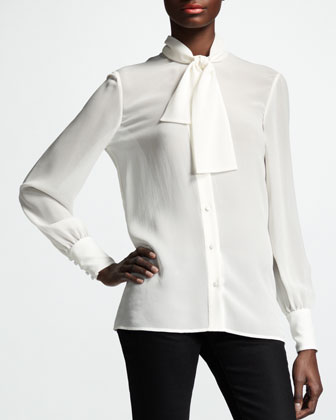 Button-Up Ascot-Neck Blouse, White