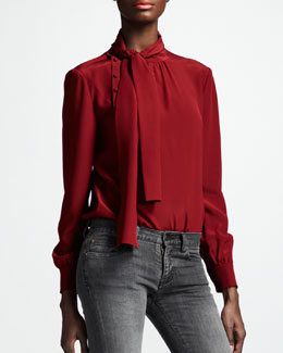 Saint Laurent Asymmetric Button Ascot-Neck Blouse, Rouge