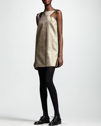 Cut-In Metallic Shift Dress, Gold