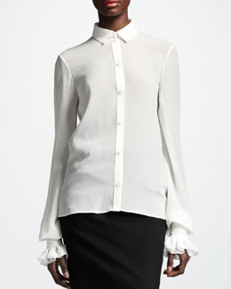 Saint Laurent Collared Silk Blouse, White