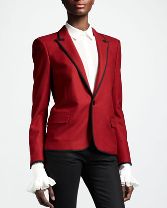 Piped One-Button Blazer, Rouge