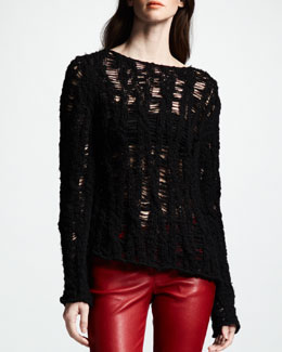 Saint Laurent Distressed Crochet Sweater, Noir