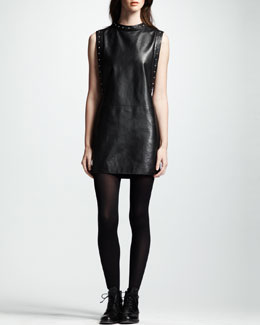 Saint Laurent Sleeveless Leather Dress, Noir