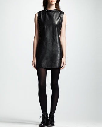Sleeveless Leather Dress, Noir