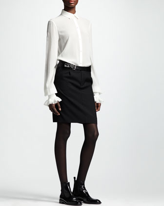 Leather-Belt Gabardine Skirt, Black