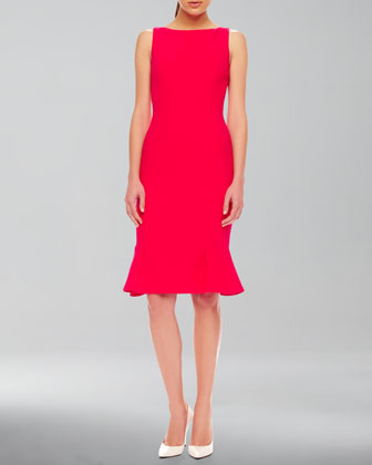 Flare-Hem Crepe Dress