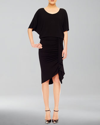 Ruch-Skirt Jersey Dress