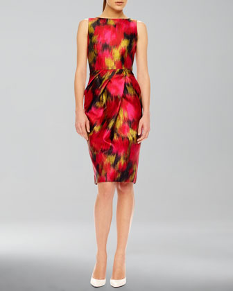 Printed Shantung Dress