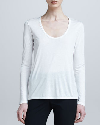 Scoop-Neck Classic Tee, White