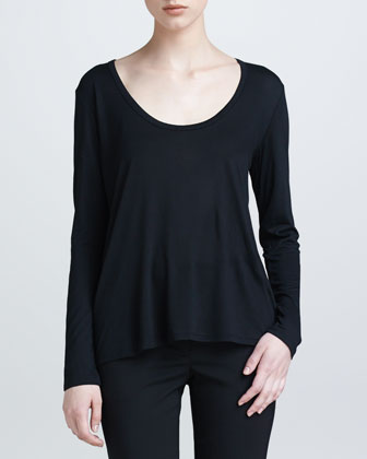 Scoop-Neck Jersey Tee, Black