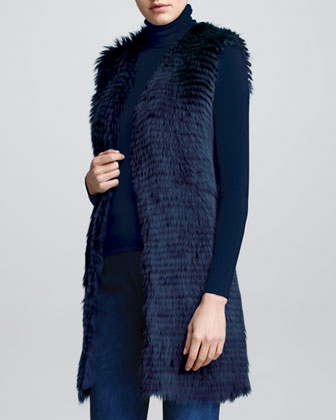 Long Shearling Fur Vest, Dusty Blue
