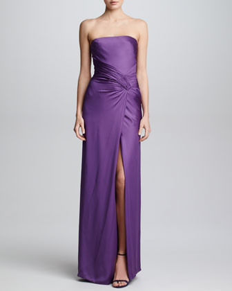 Silk Charmeuse Strapless Gown, Orchid