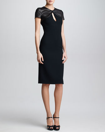 Leather & Wool Crepe Dress, Black
