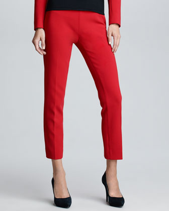 Cropped Wool Pants, Rouge