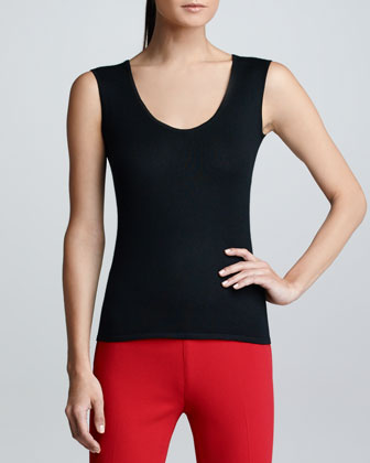 Cashmere Sleeveless Shell, Black