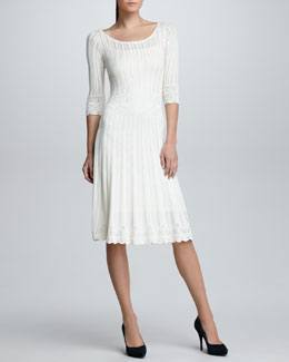 Ralph Lauren Black Label Elbow-Sleeve Crochet Sweater Dress, Cream