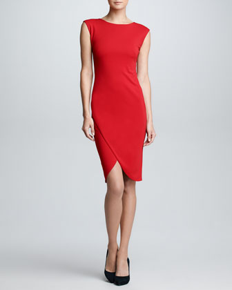 Cap-Sleeve Envelope Dress, Rouge