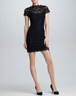 Ralph Lauren Black Label Short-Sleeve Scalloped Lace Dress, Black