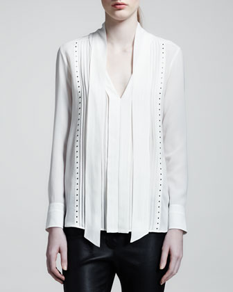 Studded Silk Blouse, Ivory