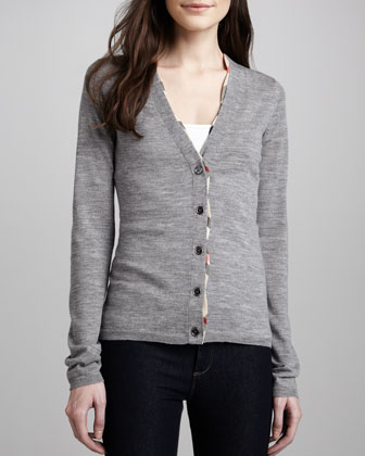 V-Neck Cardigan with Check Trim