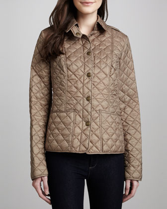 Quilted Snap-Front Cropped Jacket