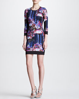 Roberto Cavalli Three-Quarter-Sleeve Floral Dress, Violet/Black