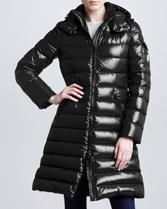Long Puffer Coat with Hood, Black