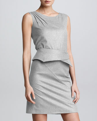 Stretch Trapunto Belt-Detail Dress, Gray