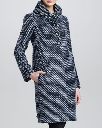 Roll-Neck Boucle Coat, Alpine